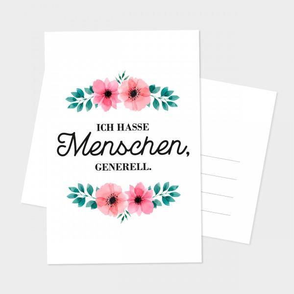 """Postkarte """"ICH HASSE MENSCHEN"""""""