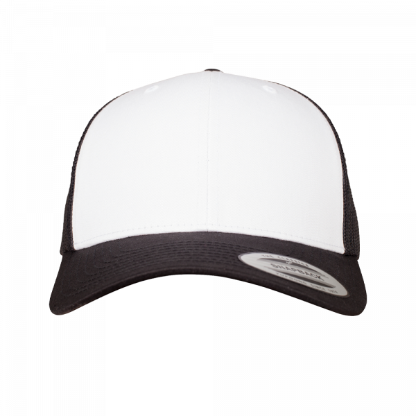 Flexfit Retro Trucker Colored Front 6606CF - Black-White-Black