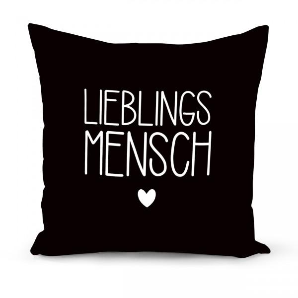 """Kissenbezug """"LIEBLINGSMENSCH"""" schwarz"""