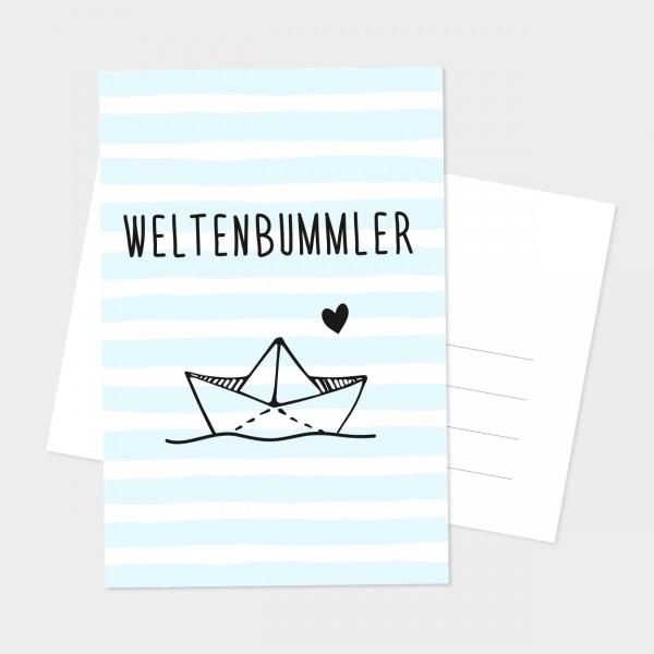 "Postkarte ""WELTENBUMMLER"""
