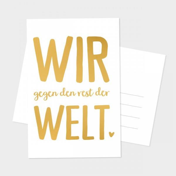 """Goldpostkarte """"WIR GEGEN DEN REST"""""""