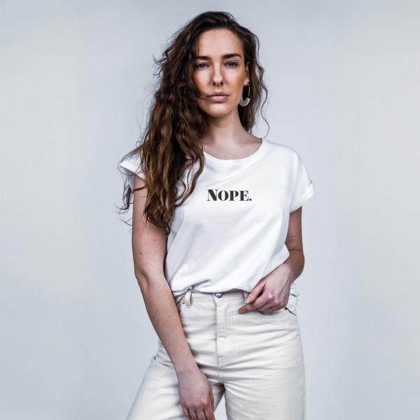 "T-Shirt ""Nope."" weiß – TheGoodVibes"