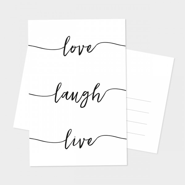 "Postkarte ""LOVE LAUGH LIVE"""