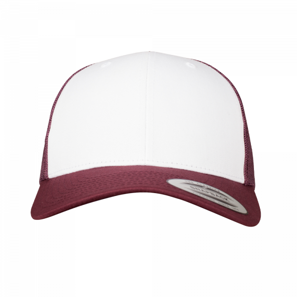 Flexfit Retro Trucker Colored Front 6606CF - Maroon-White-Maroon