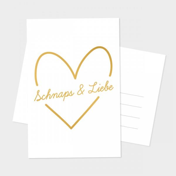 """Goldpostkarte """"SCHNAPS & LIEBE"""""""