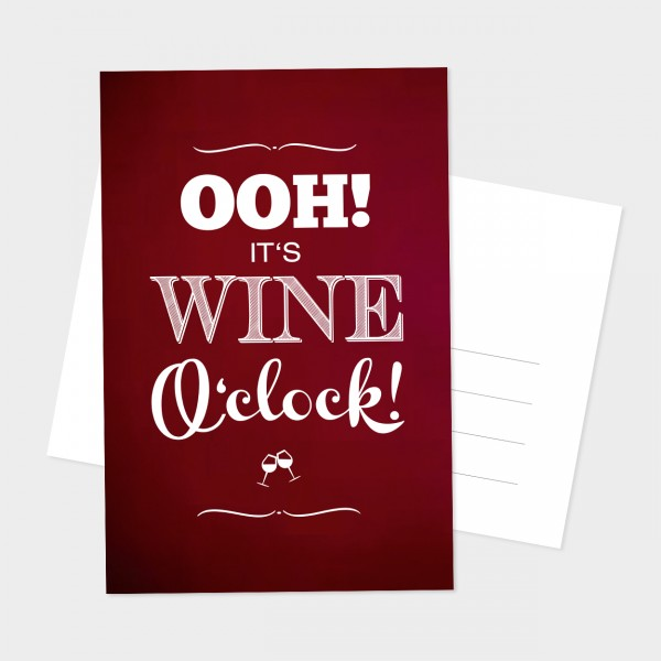"Postkarte ""WINE O´ CLOCK"""
