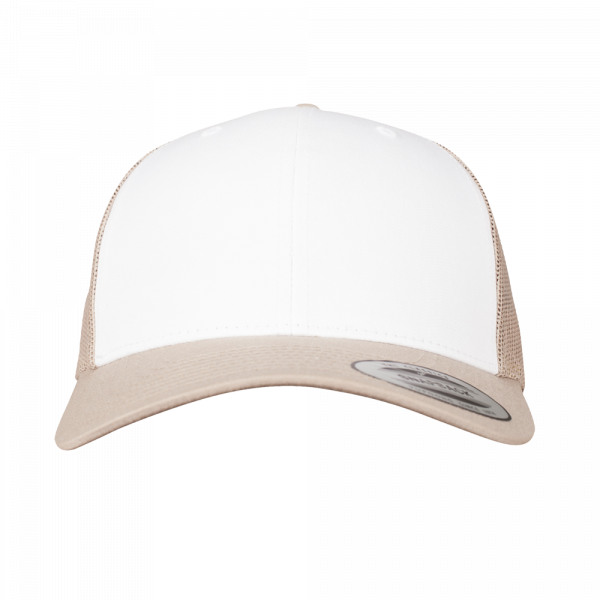 Flexfit Retro Trucker Colored Front 6606CF - Khaki-White-Khaki