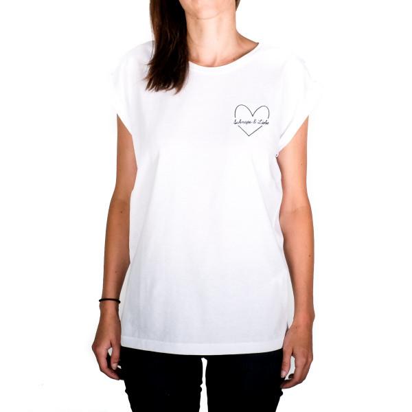 """Shirt """"SCHNAPS & LIEBE"""" Stick weiß"""